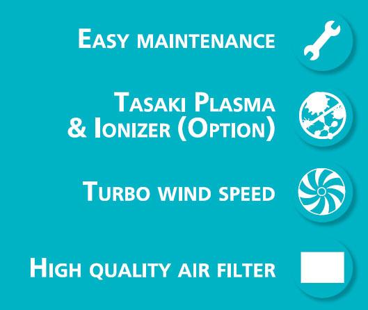 แอร์ Tasaki แบบ 4 ทิศทาง รุ่น FCCT BI Series เป็นระบบ Inverter ประหยัดไฟ